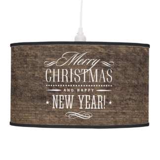 Rustic Wood Merry Christmas Decor Pendant Lamp
