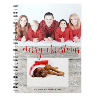 Rustic Wood Merry Christmas Photo - Notebook