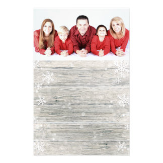 Rustic Wood Merry Christmas Photo - Stationery