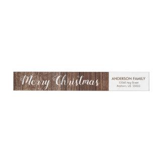 Rustic Wood | Merry Christmas Return Address Wrap Around Label