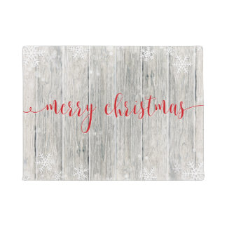 Rustic Wood Merry Christmas Snowflakes - Doormat