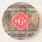 Rustic Wood Metal Band Coral Quatrefoil 3 Monogram Coaster