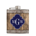 Rustic Wood Metal Band Navy Quatrefoil 3 Monogram Hip Flask