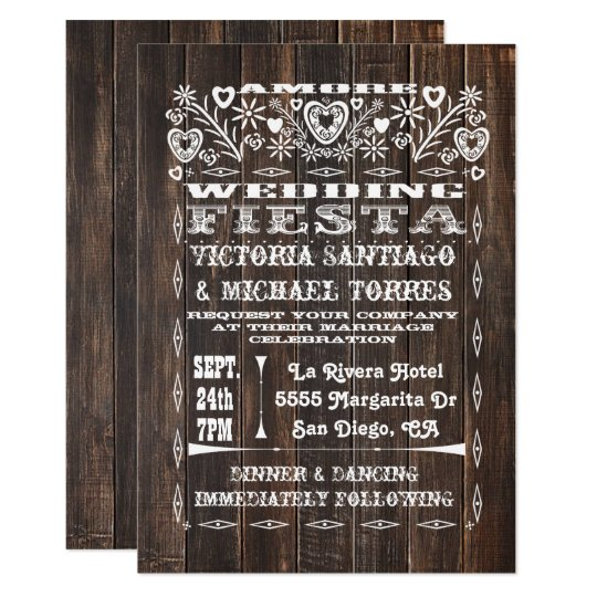 Rustic Wood Mexican Wedding Papel Picado Card