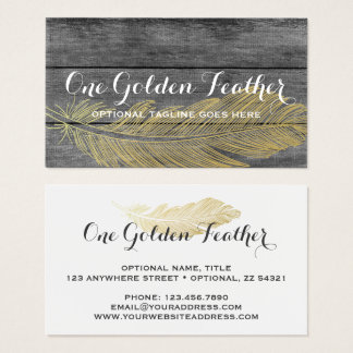 Rustic Wood & Modern Gold Feather Bohemian Chic Business Card