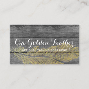 Wooden business cards profile cards zazzle ca rustic wood modern gold feather bohemian chic business card reheart Image collections