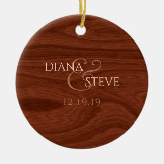 Rustic Wood Monogram Country Wedding Date Keepsake Ceramic Ornament