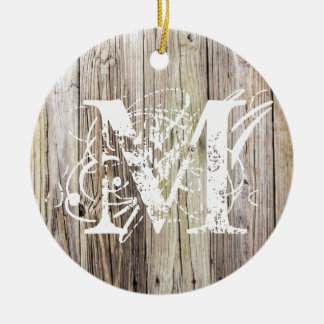 Rustic Wood Monogrammed Christmas Ornament