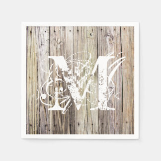 Rustic Wood Monogrammed Cocktail Napkins Disposable Napkin
