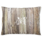 Rustic Wood Monogrammed Dog Bed