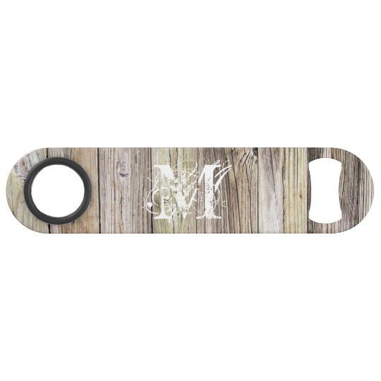Rustic Wood Monogrammed Speed Bottle Opener