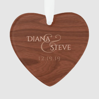 Rustic Wood Monogrammed Wedding Keepsake Heart Ornament