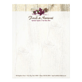 Rustic Wood & Natural Maple Leaf Nature Elements Letterhead