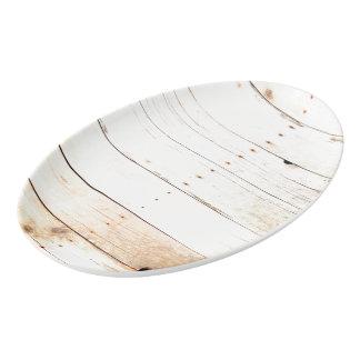 Rustic Wood Old Barn Board Barnwood Paneling Porcelain Serving Platter