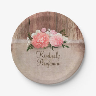 Rustic Wood Old Burlap Pink Flowers Barn Wedding Paper Plate