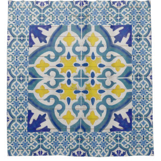 Rustic Wood Old Havana Tile Pattern Painted Blue