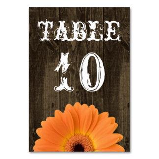 Rustic Wood Orange Daisy Wedding Table Number Card
