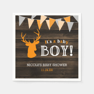 Rustic Wood Orange Deer Boy Baby Shower Disposable Napkins