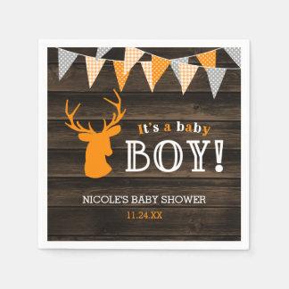 Rustic Wood Orange Deer Boy Baby Shower Paper Napkin