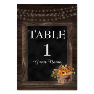 Rustic Wood / Orange Flowers Reception Place Card Table Cards