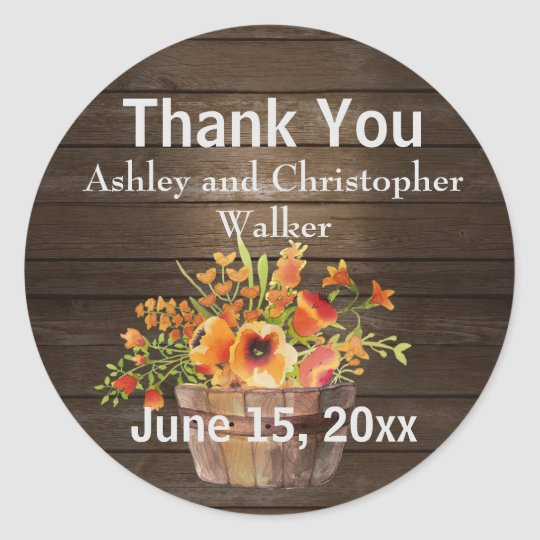 Rustic Wood Orange Flowers Thank You Sticker