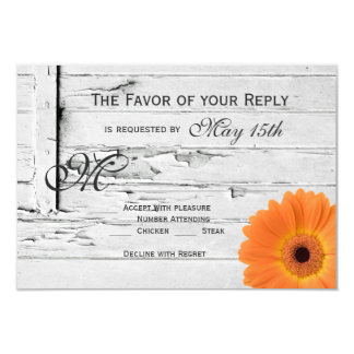 "Rustic Wood Orange Gerber Daisy Wedding RSVP Cards 3.5"" X 5"" Invitation Card"