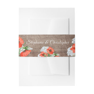 Rustic Wood Orange Poppies Wedding Belly Band Invitation Belly Band