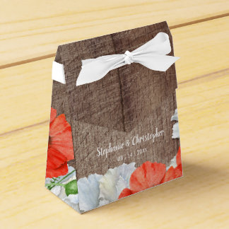 Rustic Wood Orange Poppy Flowers Favor Box