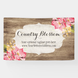 Rustic Wood & Painted Pink Hibiscus Flower Country Banner