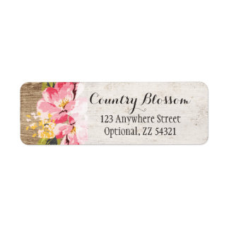 Rustic Wood & Painted Pink Hibiscus Flower Country Return Address Label