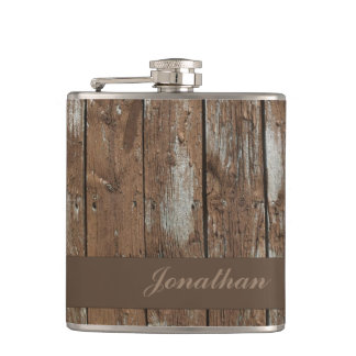 Rustic wood pattern customizable flask