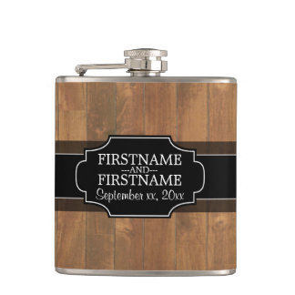 Rustic Wood Pattern Wedding Favor Flask