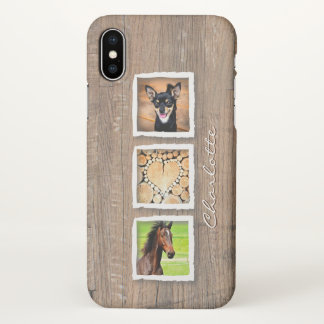 Rustic Wood Photo Collage Custom iPhone X Case