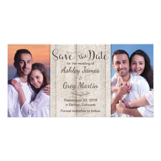Rustic Wood Photo Collage Wedding Save the Date Custom Photo Card