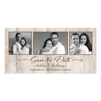 Rustic Wood Photo Collage Wedding Save the Date Photo Card Template