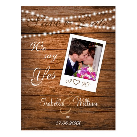Rustic Wood Photo Save the Date Invitation Postcard
