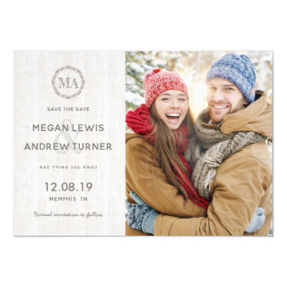 Rustic Wood Photo Save the Date Magnet