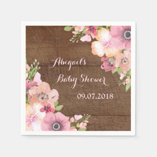 Rustic Wood Pink Floral Baby Shower Napkins Disposable Napkin