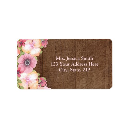 Rustic Wood Pink Floral Return Address Label