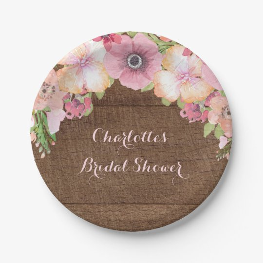 Rustic Wood Pink Watercolor Bridal Shower Plate 7 Inch Paper Plate