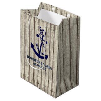 Rustic Wood Planks Pattern Blue Boat Anchor Medium Gift Bag