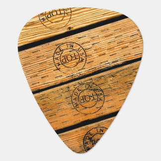 "Rustic Wood Planks Stamped with ""Made in USA"" Guitar Pick"