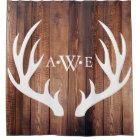 Rustic Wood Planks White Deer Antlers - Monogram