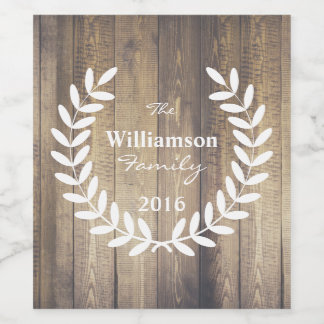 Rustic Wood Planks White Laurels - Personalized Wine Label