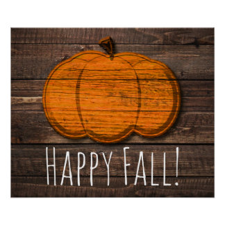 Rustic Wood Pumpkin Country Halloween Fall Party Poster