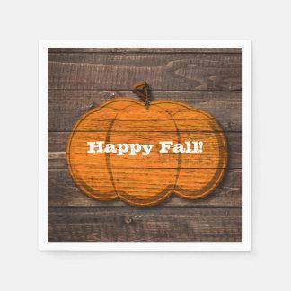 Rustic Wood Pumpkin Halloween Autumn Fall Party Disposable Napkin