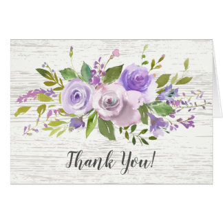 rustic Wood Purple Floral Bridal Shower Thank You Card