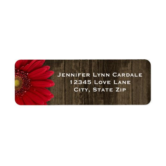 Rustic Wood Red Gerber Daisy Address Labels