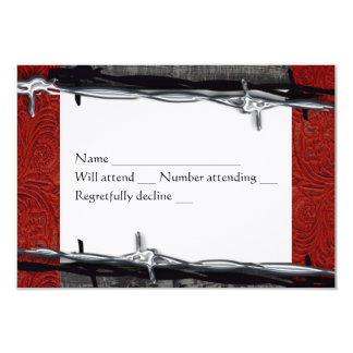 Rustic Wood Red Leather Barbed Wire Cowboy rsvp Card