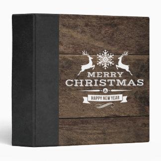 Rustic Wood Reindeer Merry Christmas Decor Binder
